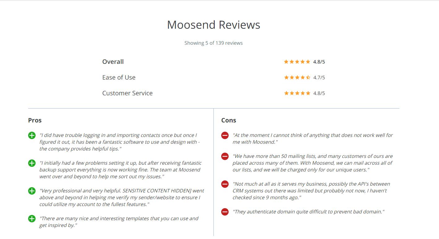 moosend reviews